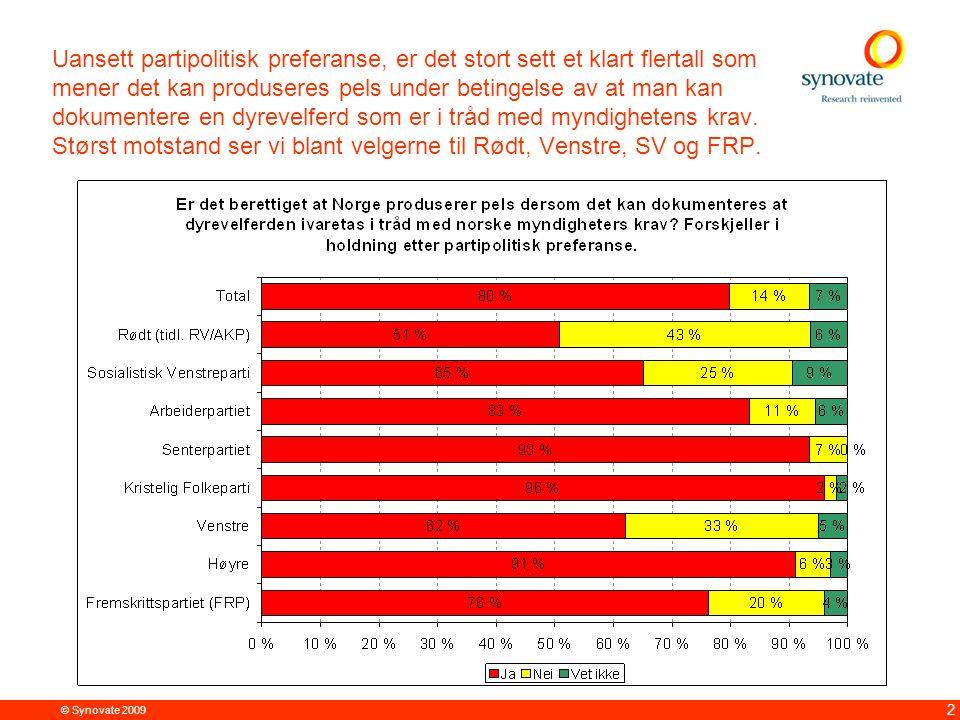 © Synovate 2009 3 4 av 5 mener det er berettiget at Norge produserer pels dersom det kan dokumenteres at dyrevelferden ivaretas i tråd med norske myndigheters krav.
