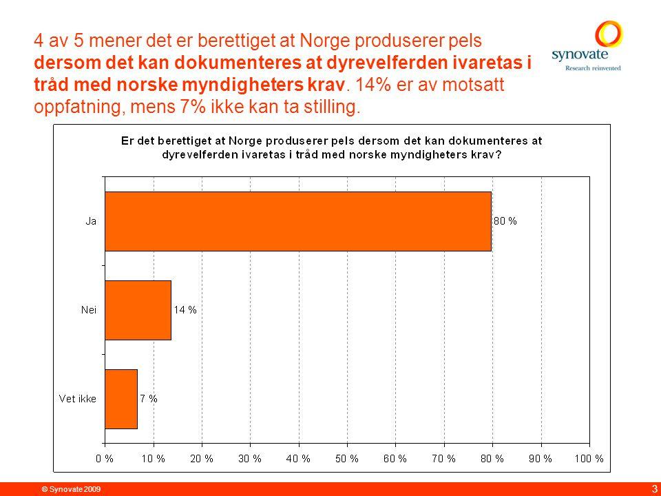 © Synovate 2009 3 4 av 5 mener det er berettiget at Norge produserer pels dersom det kan dokumenteres at dyrevelferden ivaretas i tråd med norske mynd