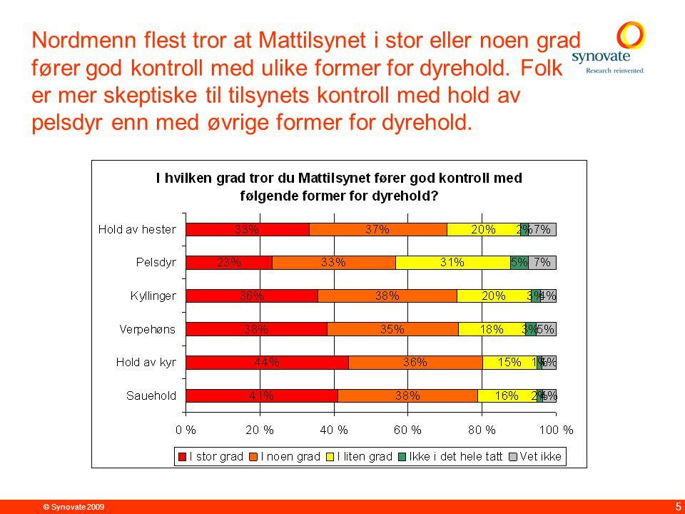 © Synovate 2009 5 Nordmenn flest tror at Mattilsynet i stor eller noen grad fører god kontroll med ulike former for dyrehold. Folk er mer skeptiske ti