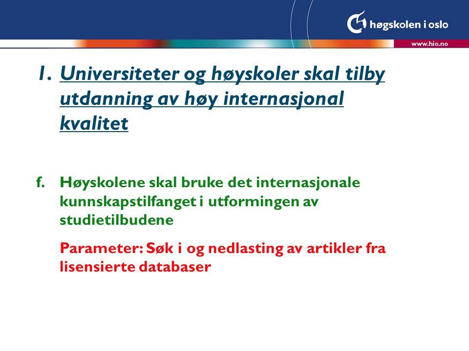 1.Universiteter og høyskoler skal tilby utdanning av høy internasjonal kvalitet f.Høyskolene skal bruke det internasjonale kunnskapstilfanget i utformingen av studietilbudene Parameter: Søk i og nedlasting av artikler fra lisensierte databaser