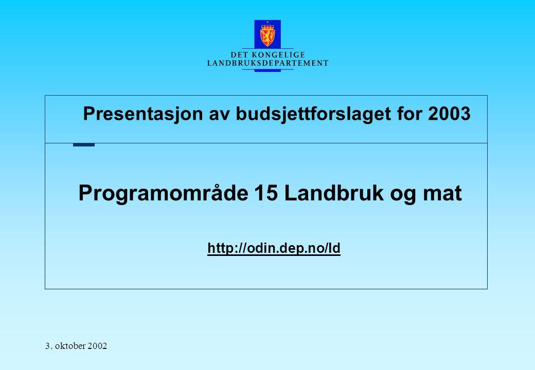Presentasjon av budsjettforslaget for 2003 3.