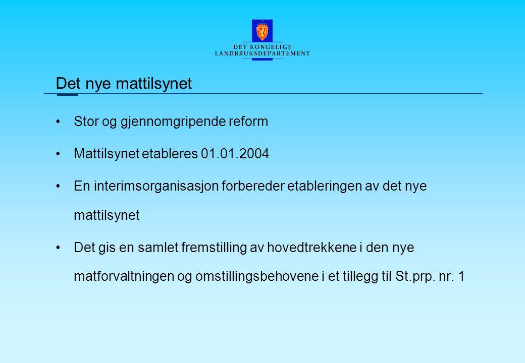 Det nye mattilsynet Stor og gjennomgripende reform Mattilsynet etableres 01.01.2004 En interimsorganisasjon forbereder etableringen av det nye mattilsynet Det gis en samlet fremstilling av hovedtrekkene i den nye matforvaltningen og omstillingsbehovene i et tillegg til St.prp.