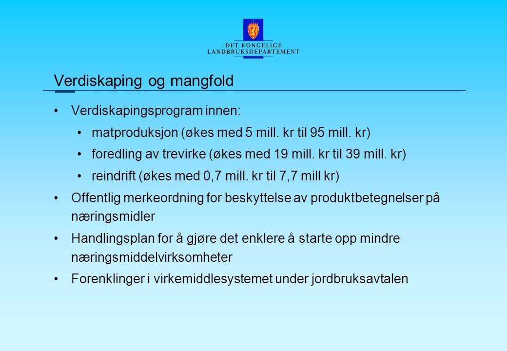Verdiskaping og mangfold Verdiskapingsprogram innen: matproduksjon (økes med 5 mill.