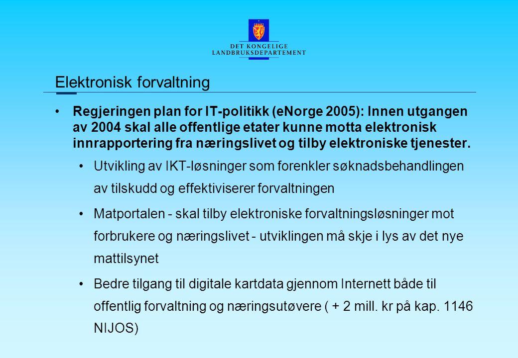 Regjeringen plan for IT-politikk (eNorge 2005): Innen utgangen av 2004 skal alle offentlige etater kunne motta elektronisk innrapportering fra næringslivet og tilby elektroniske tjenester.