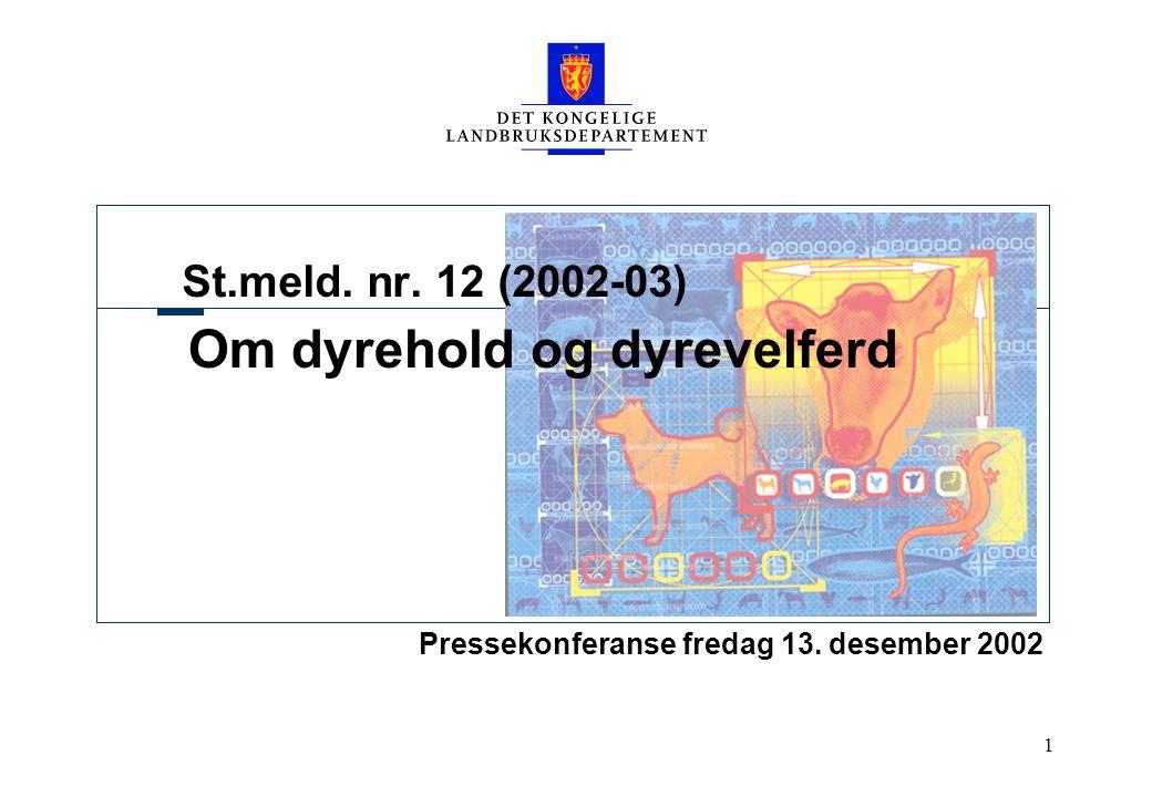 1 St.meld. nr. 12 (2002-03) Om dyrehold og dyrevelferd Pressekonferanse fredag 13. desember 2002