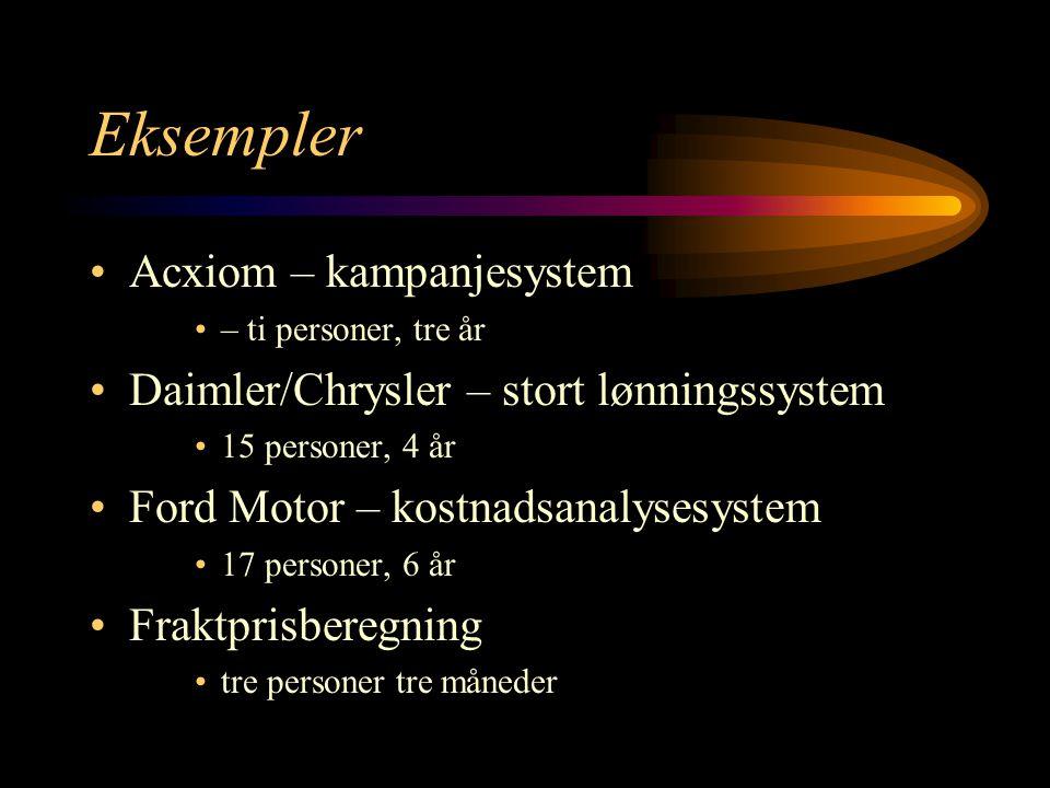 Eksempler Acxiom – kampanjesystem – ti personer, tre år Daimler/Chrysler – stort lønningssystem 15 personer, 4 år Ford Motor – kostnadsanalysesystem 17 personer, 6 år Fraktprisberegning tre personer tre måneder