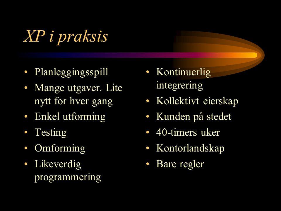 XP i praksis Planleggingsspill Mange utgaver.