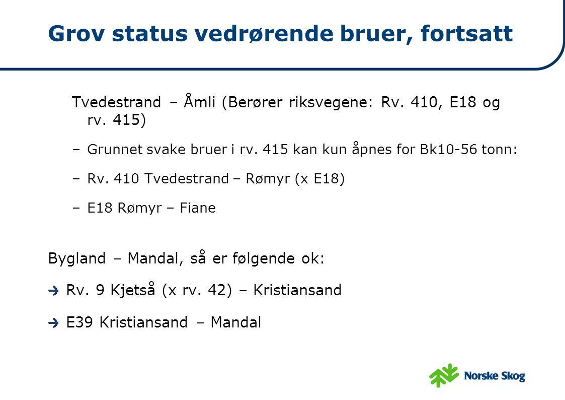 Grov status vedrørende bruer, fortsatt Tvedestrand – Åmli (Berører riksvegene: Rv. 410, E18 og rv. 415) –Grunnet svake bruer i rv. 415 kan kun åpnes f