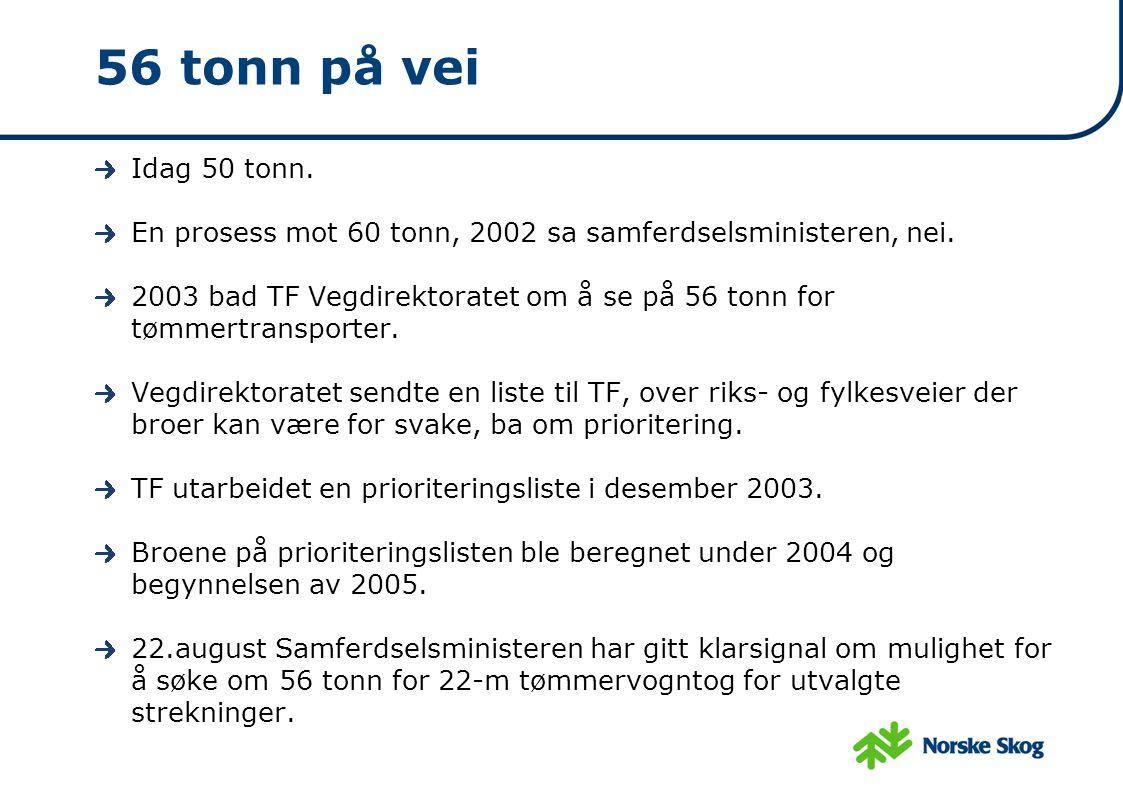 56 tonn på vei Idag 50 tonn. En prosess mot 60 tonn, 2002 sa samferdselsministeren, nei. 2003 bad TF Vegdirektoratet om å se på 56 tonn for tømmertran