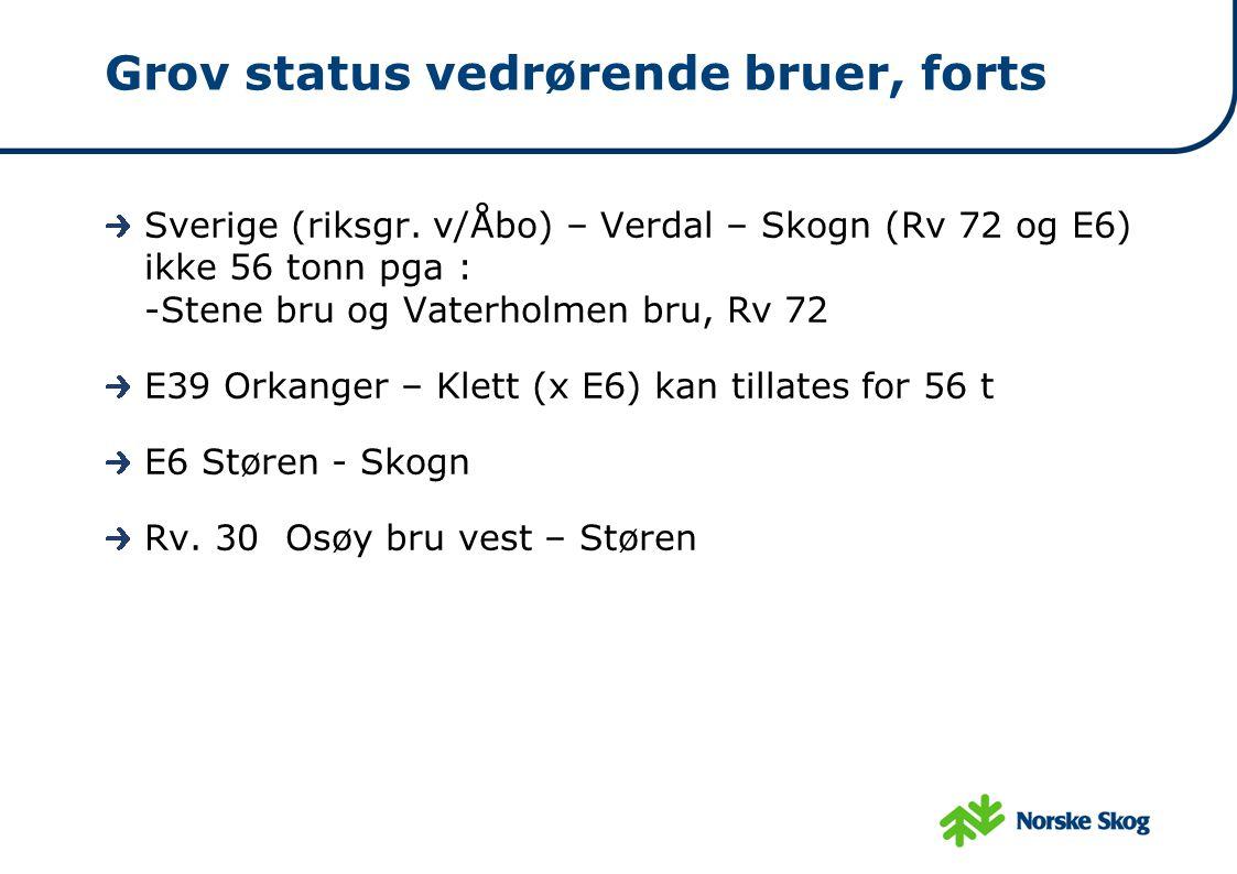 Grov status vedrørende bruer, forts Sverige (riksgr. v/Åbo) – Verdal – Skogn (Rv 72 og E6) ikke 56 tonn pga : -Stene bru og Vaterholmen bru, Rv 72 E39