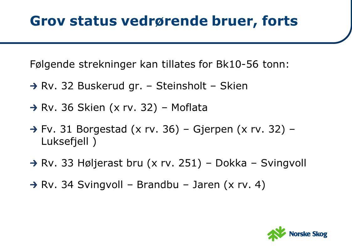 Grov status vedrørende bruer, forts Følgende strekninger kan tillates for Bk10-56 tonn: Rv. 32 Buskerud gr. – Steinsholt – Skien Rv. 36 Skien (x rv. 3