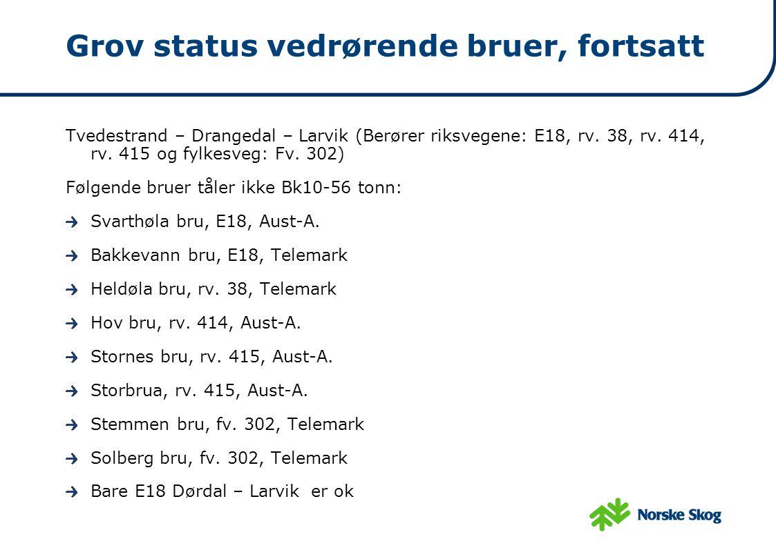Grov status vedrørende bruer, fortsatt Tvedestrand – Drangedal – Larvik (Berører riksvegene: E18, rv. 38, rv. 414, rv. 415 og fylkesveg: Fv. 302) Følg
