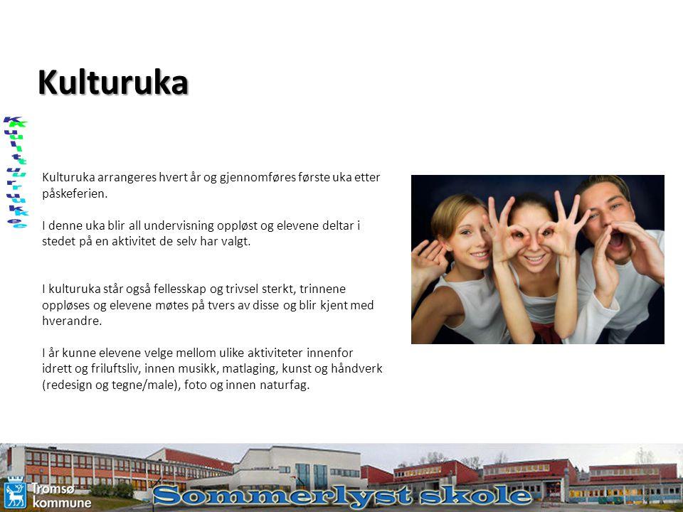 Kulturuka Kulturuka arrangeres hvert år og gjennomføres første uka etter påskeferien. I denne uka blir all undervisning oppløst og elevene deltar i st
