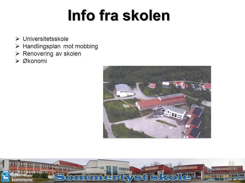 Info fra skolen  Universitetsskole  Handlingsplan mot mobbing  Renovering av skolen  Økonomi