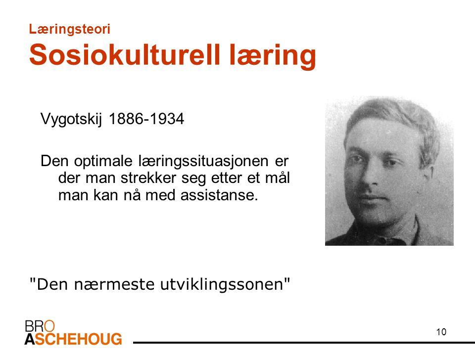 10 Læringsteori Sosiokulturell læring Vygotskij 1886-1934 Den optimale læringssituasjonen er der man strekker seg etter et mål man kan nå med assistan