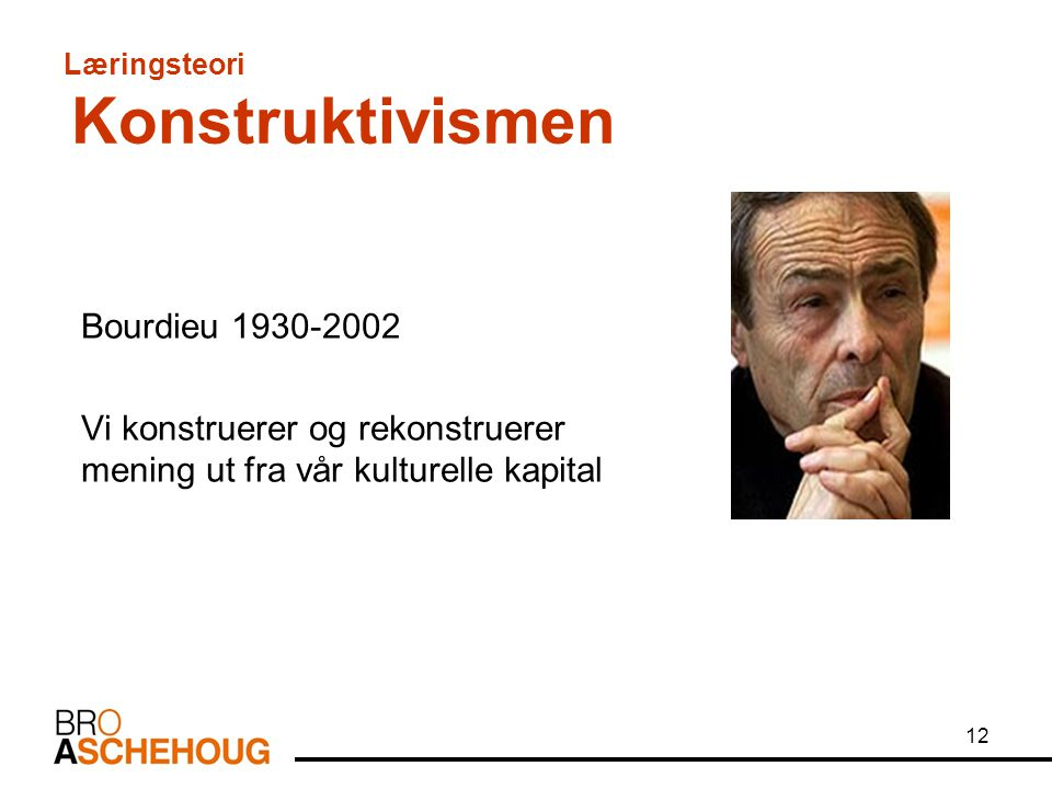 12 Læringsteori Konstruktivismen Bourdieu 1930-2002 Vi konstruerer og rekonstruerer mening ut fra vår kulturelle kapital