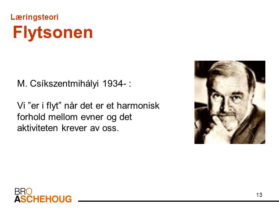 """13 M. Csíkszentmihályi 1934- : Vi """"er i flyt"""" når det er et harmonisk forhold mellom evner og det aktiviteten krever av oss. Læringsteori Flytsonen"""