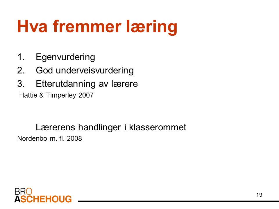 19 Hva fremmer læring 1.Egenvurdering 2.God underveisvurdering 3.Etterutdanning av lærere Hattie & Timperley 2007 Lærerens handlinger i klasserommet Nordenbo m.