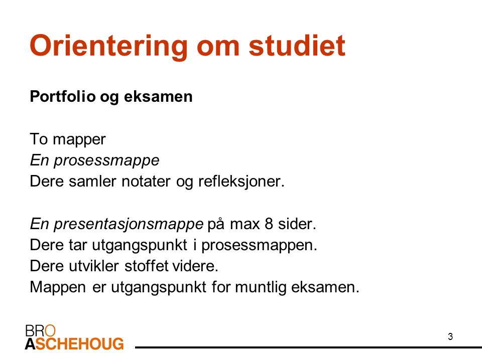 3 Orientering om studiet Portfolio og eksamen To mapper En prosessmappe Dere samler notater og refleksjoner.