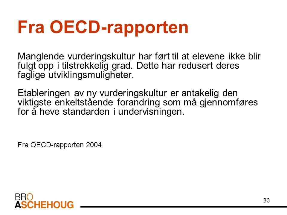 33 Fra OECD-rapporten Manglende vurderingskultur har ført til at elevene ikke blir fulgt opp i tilstrekkelig grad. Dette har redusert deres faglige ut