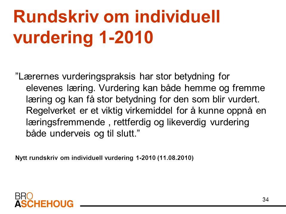 """34 Rundskriv om individuell vurdering 1-2010 """"Lærernes vurderingspraksis har stor betydning for elevenes læring. Vurdering kan både hemme og fremme læ"""