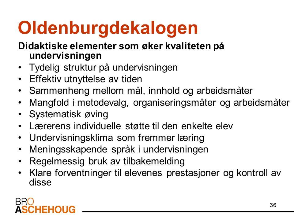 36 Oldenburgdekalogen Didaktiske elementer som øker kvaliteten på undervisningen Tydelig struktur på undervisningen Effektiv utnyttelse av tiden Samme
