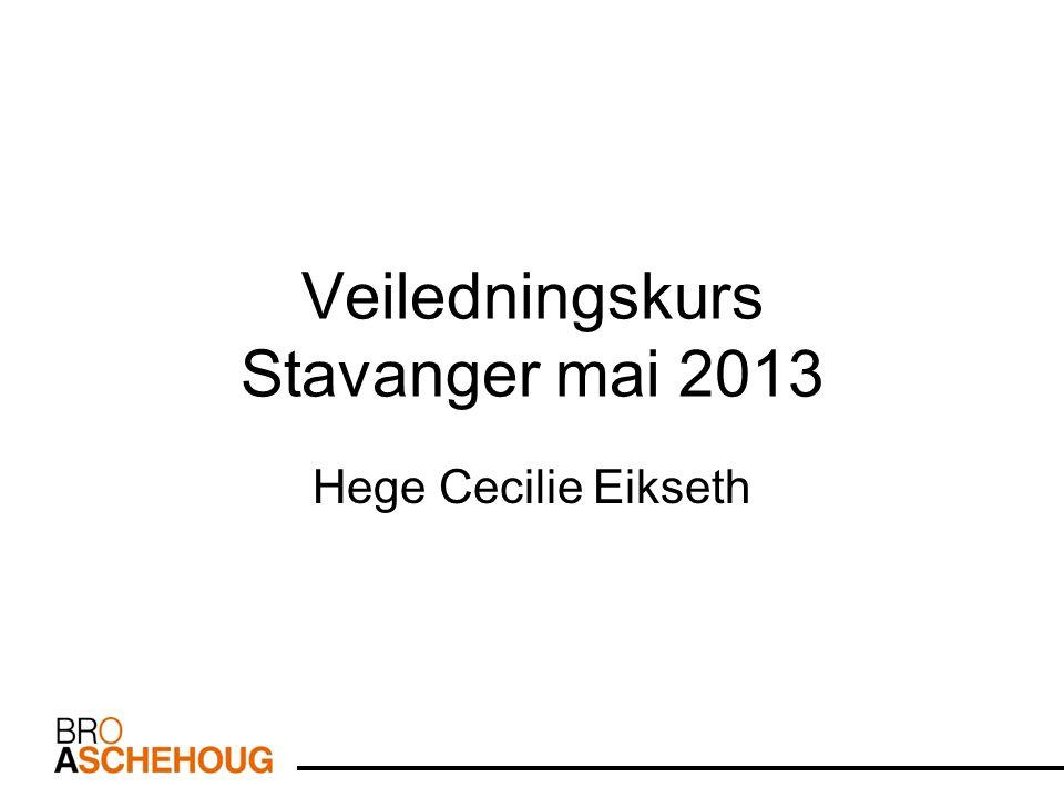 Veiledningskurs Stavanger mai 2013 Hege Cecilie Eikseth