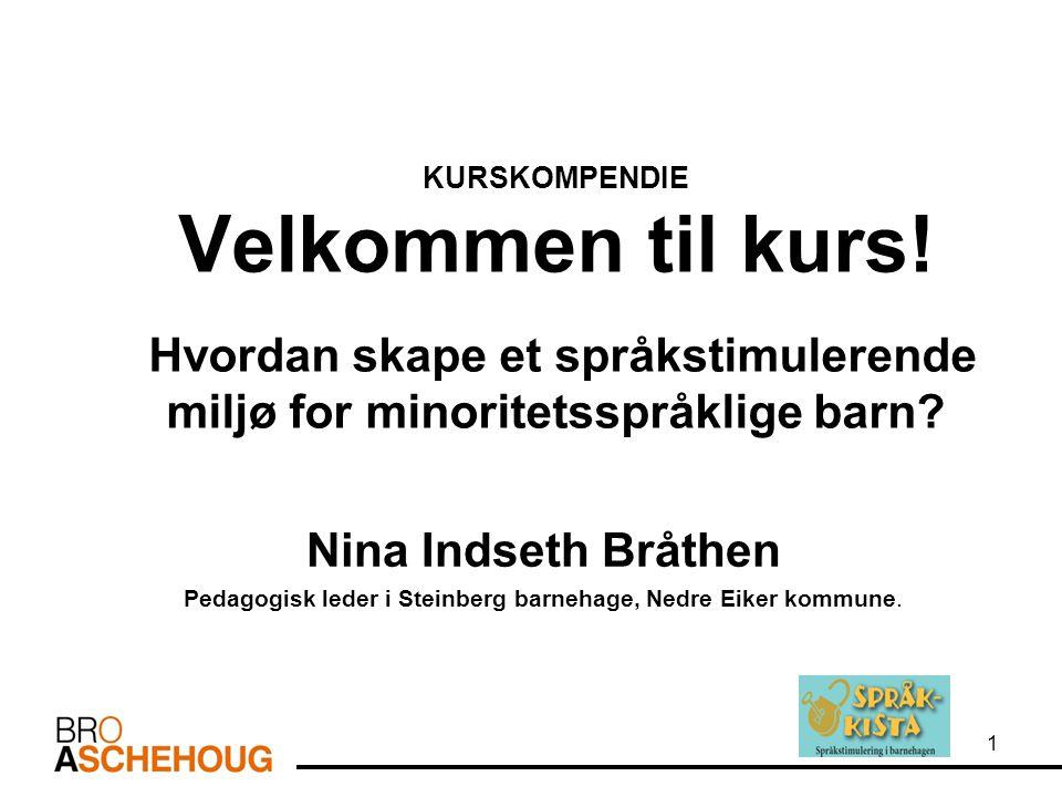 KURSKOMPENDIE Velkommen til kurs! Hvordan skape et språkstimulerende miljø for minoritetsspråklige barn? Nina Indseth Bråthen Pedagogisk leder i Stein