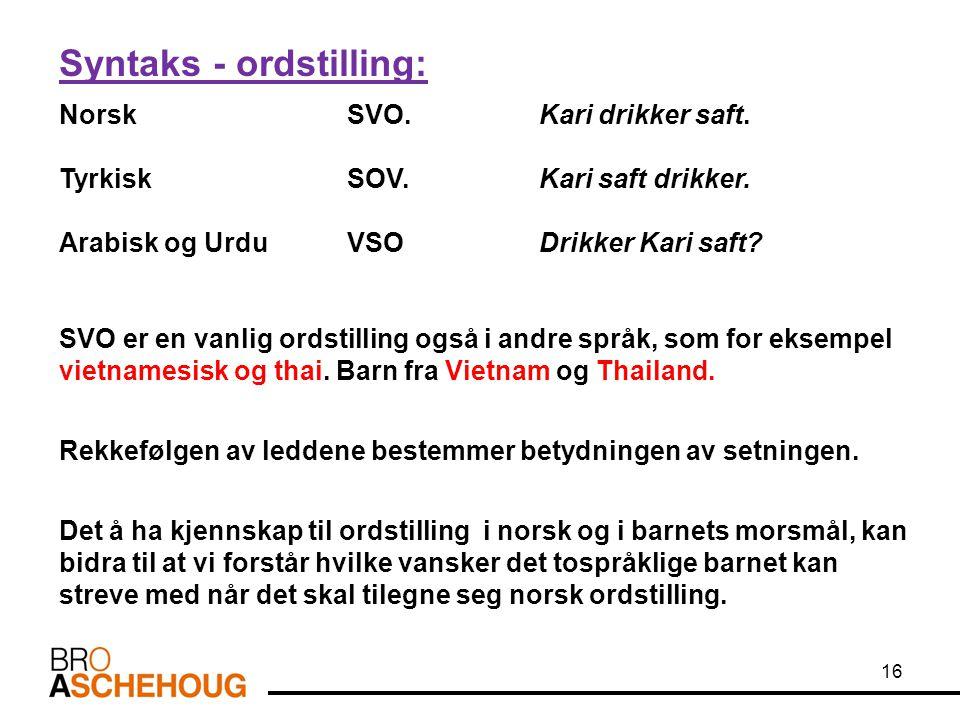 Syntaks - ordstilling: Norsk SVO.Kari drikker saft. Tyrkisk SOV.Kari saft drikker. Arabisk og Urdu VSODrikker Kari saft? SVO er en vanlig ordstilling