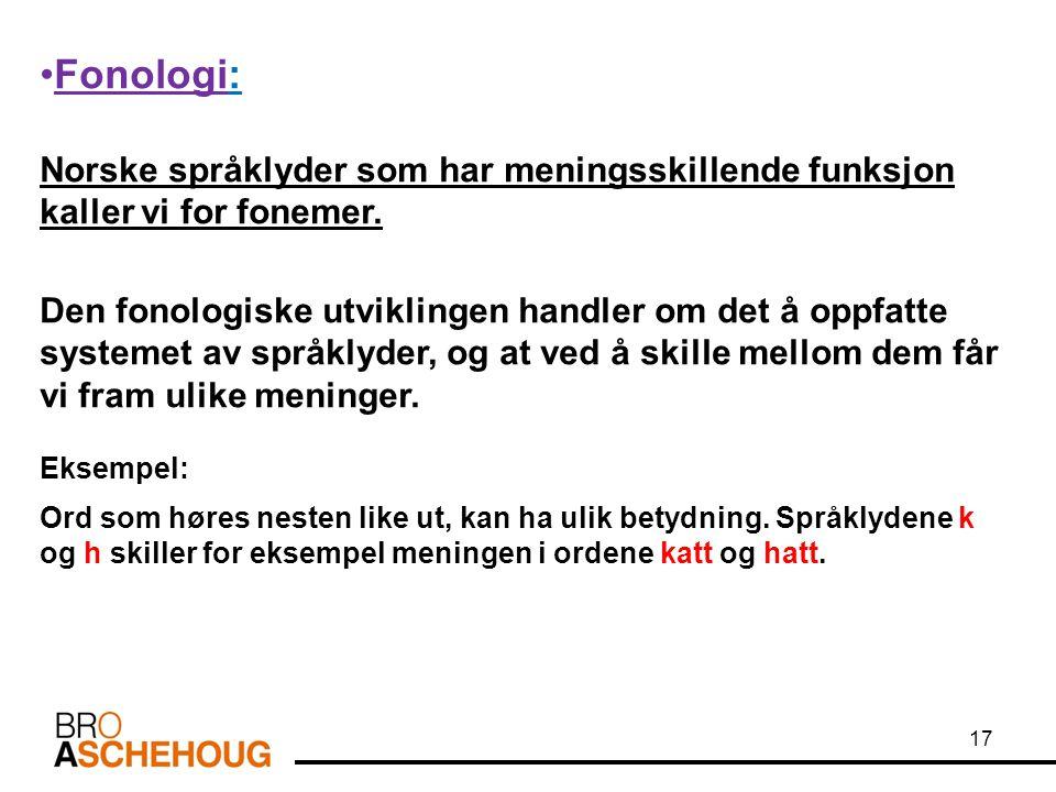Fonologi: Norske språklyder som har meningsskillende funksjon kaller vi for fonemer. Den fonologiske utviklingen handler om det å oppfatte systemet av