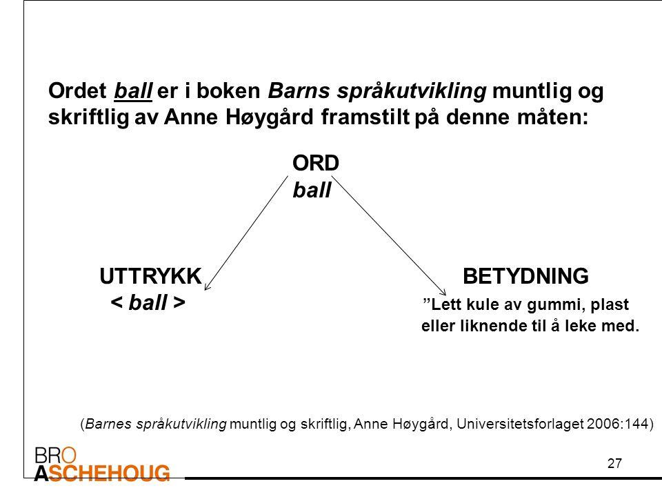 """Ordet ball er i boken Barns språkutvikling muntlig og skriftlig av Anne Høygård framstilt på denne måten: ORD ball UTTRYKK BETYDNING """"Lett kule av gum"""