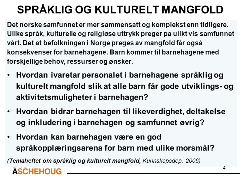 SPRÅKLIG OG KULTURELT MANGFOLD Det norske samfunnet er mer sammensatt og komplekst enn tidligere. Ulike språk, kulturelle og religiøse uttrykk preger