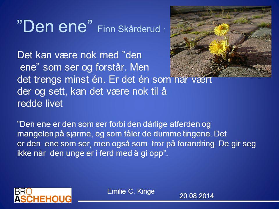 """""""Den ene"""" Finn Skårderud : Det kan være nok med """"den ene"""" som ser og forstår. Men det trengs minst én. Er det én som har vært der og sett, kan det vær"""