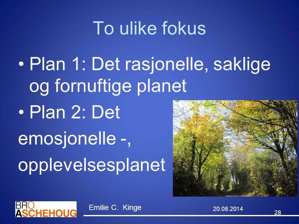 To ulike fokus Plan 1: Det rasjonelle, saklige og fornuftige planet Plan 2: Det emosjonelle -, opplevelsesplanet 28 20.08.2014 Emilie C. Kinge
