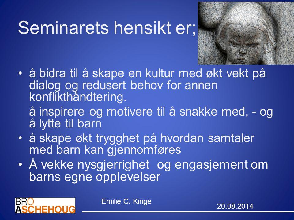 Grunnleggende holdning i hjelpearbeid (Carl Rogers) Kongruens eller genuinitet Ubetinget positiv aktelse Empati 20.08.2014 Emilie Kinge 14