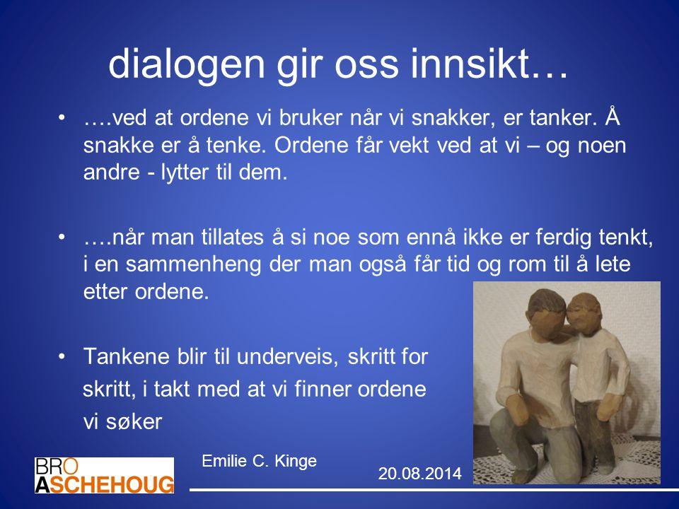 dialogen gir oss innsikt… ….ved at ordene vi bruker når vi snakker, er tanker. Å snakke er å tenke. Ordene får vekt ved at vi – og noen andre - lytter