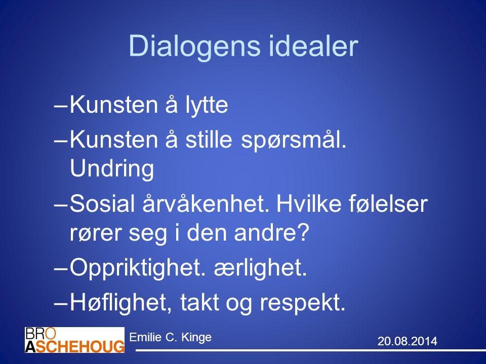 Dialogens idealer –Kunsten å lytte –Kunsten å stille spørsmål. Undring –Sosial årvåkenhet. Hvilke følelser rører seg i den andre? –Oppriktighet. ærlig