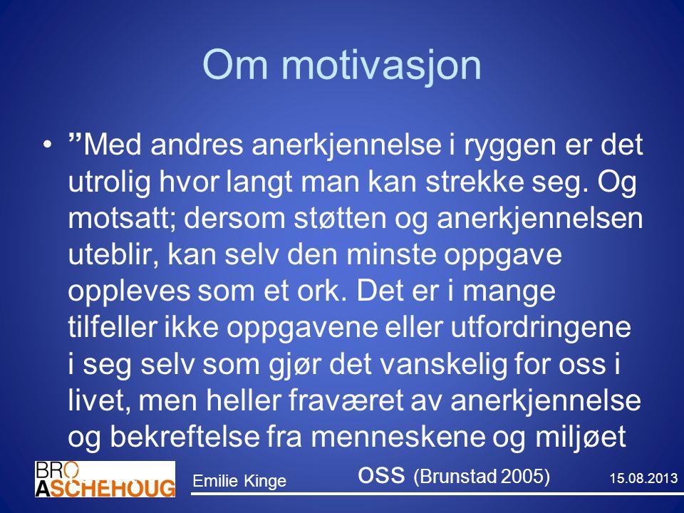 """Om motivasjon """"Med andres anerkjennelse i ryggen er det utrolig hvor langt man kan strekke seg. Og motsatt; dersom støtten og anerkjennelsen uteblir,"""