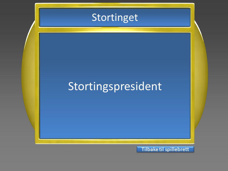 Stortingspresident Tilbake til spillebrett Stortinget