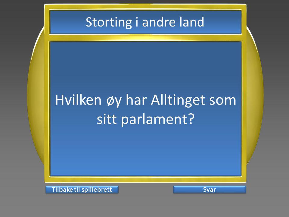 Svar Hvilken øy har Alltinget som sitt parlament? Tilbake til spillebrett Storting i andre land