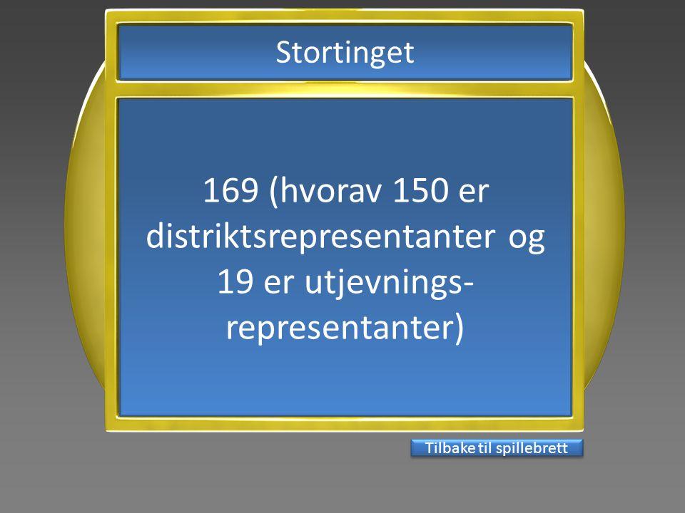 169 (hvorav 150 er distriktsrepresentanter og 19 er utjevnings- representanter) Tilbake til spillebrett Stortinget