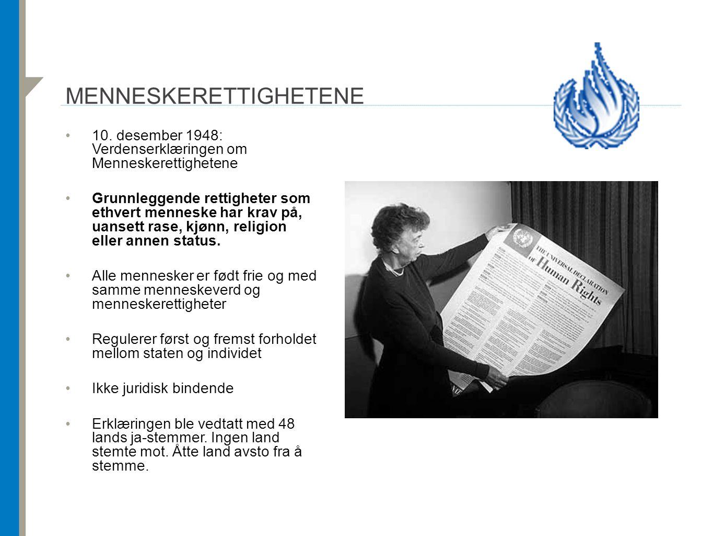 MENNESKERETTIGHETENE 10. desember 1948: Verdenserklæringen om Menneskerettighetene Grunnleggende rettigheter som ethvert menneske har krav på, uansett