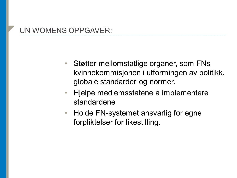UN WOMENS OPPGAVER: Støtter mellomstatlige organer, som FNs kvinnekommisjonen i utformingen av politikk, globale standarder og normer. Hjelpe medlemss