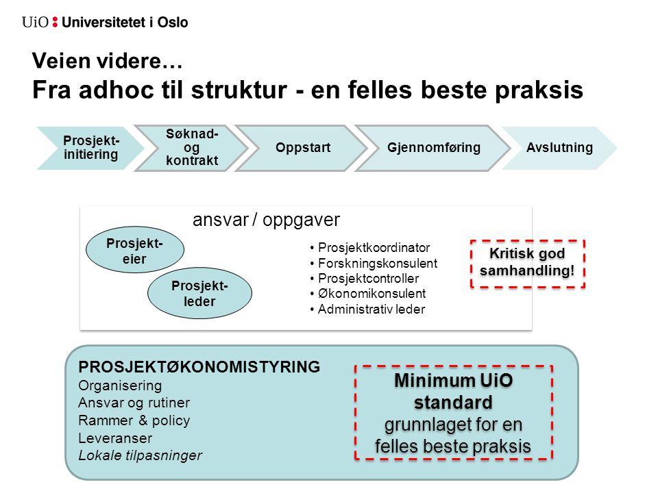Prosjekt- initiering Søknad- og kontrakt OppstartGjennomføringAvslutning Veien videre… Fra adhoc til struktur - en felles beste praksis PROSJEKTØKONOM