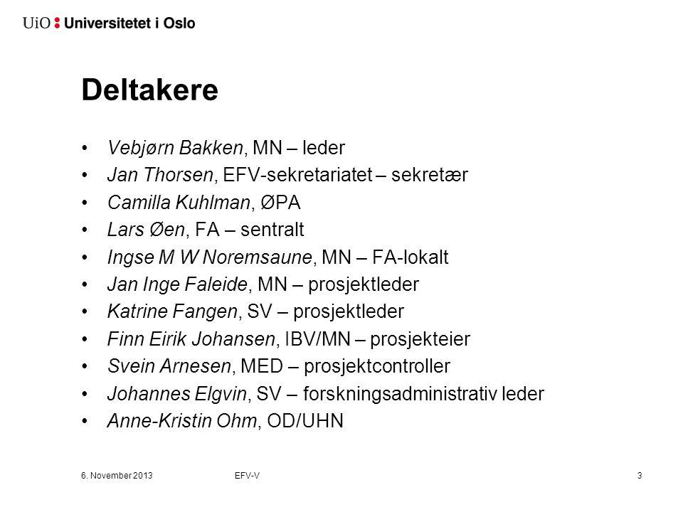 Deltakere Vebjørn Bakken, MN – leder Jan Thorsen, EFV-sekretariatet – sekretær Camilla Kuhlman, ØPA Lars Øen, FA – sentralt Ingse M W Noremsaune, MN –