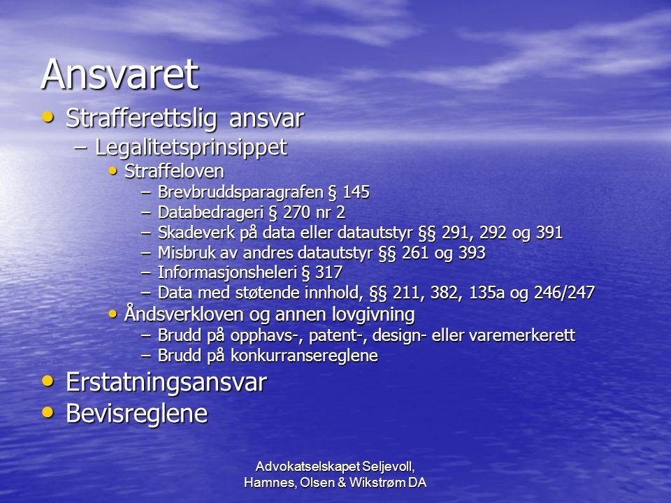 Advokatselskapet Seljevoll, Hamnes, Olsen & Wikstrøm DA Hvem er ansvarlig.