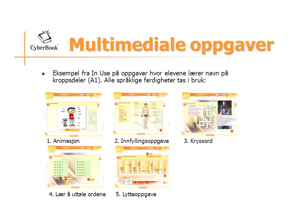 Multimediale oppgaver Eksempel fra In Use på oppgaver hvor elevene lærer navn på kroppsdeler (A1).