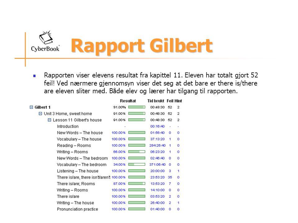 Rapport Gilbert Rapporten viser elevens resultat fra kapittel 11.