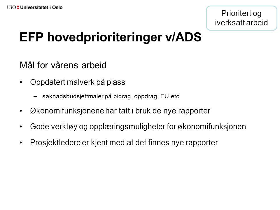 EFP hovedprioriteringer v/ADS Mål for vårens arbeid Oppdatert malverk på plass –søknadsbudsjettmaler på bidrag, oppdrag, EU etc Økonomifunksjonene har