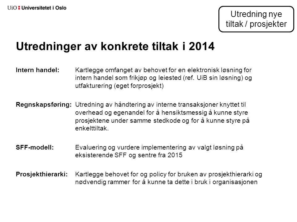 Utredninger av konkrete tiltak i 2014 Intern handel:Kartlegge omfanget av behovet for en elektronisk løsning for intern handel som frikjøp og leiested